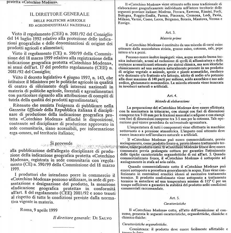 cotechino IGP regulamento