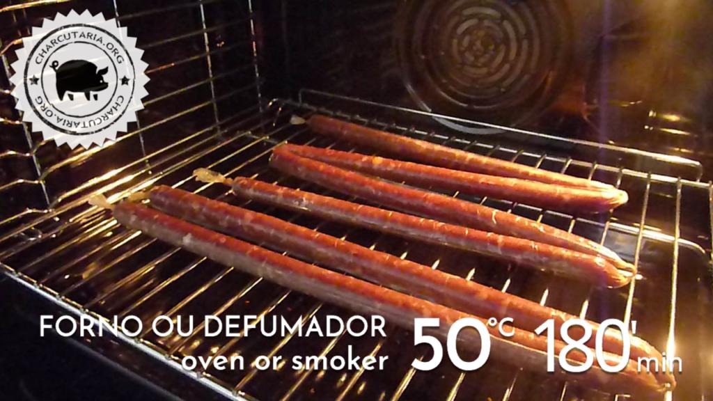 salaminho forno secando